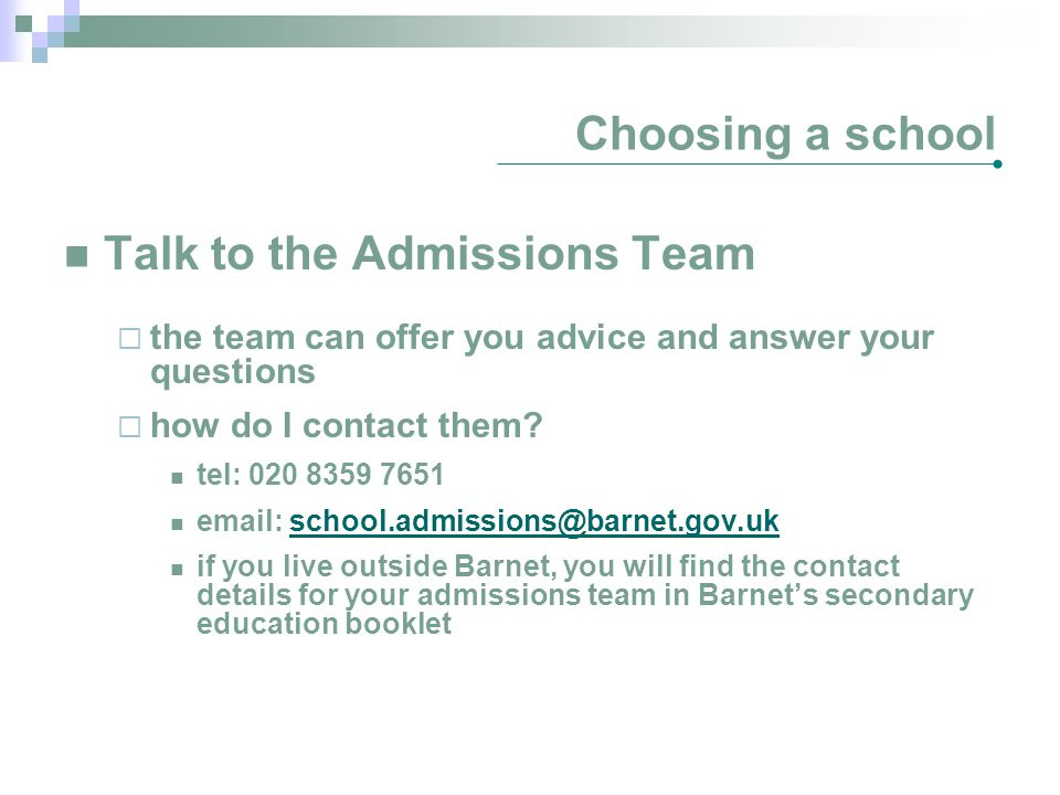 Talk to the Admissions Team