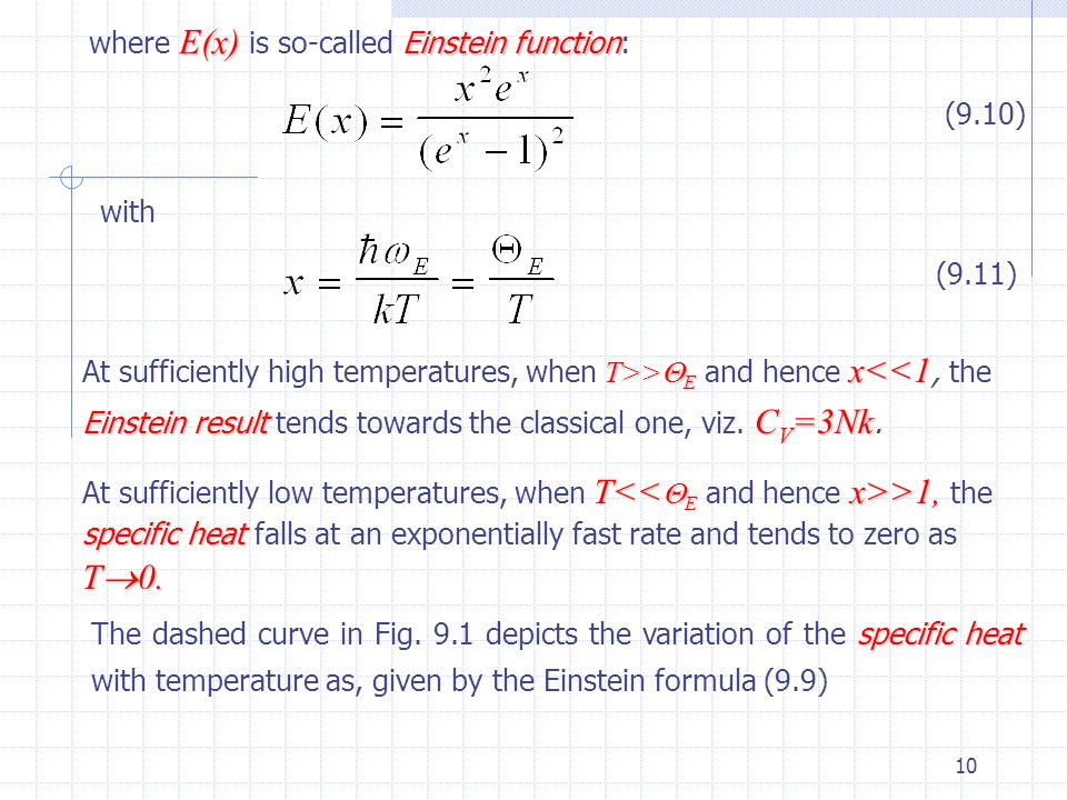 where E(x) is so-called Einstein function: