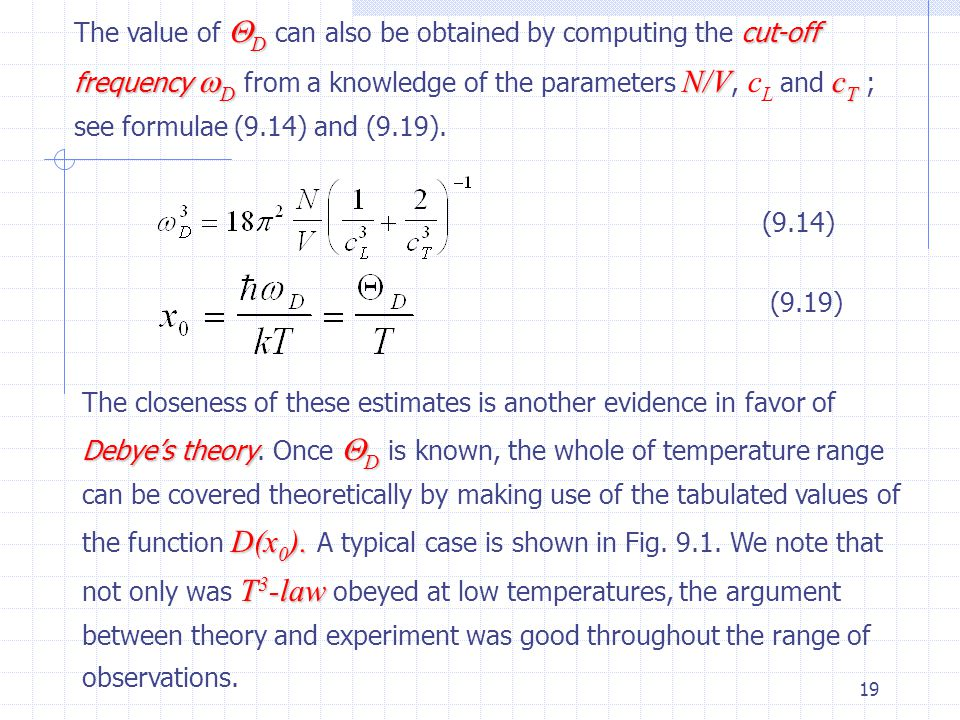 The value of D can also be obtained by computing the cut-off frequency D from a knowledge of the parameters N/V, cL and cT ; see formulae (9.14) and (9.19).