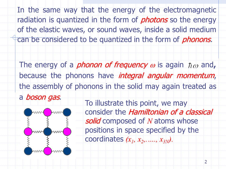 In the same way that the energy of the electromagnetic radiation is quantized in the form of photons so the energy of the elastic waves, or sound waves, inside a solid medium can be considered to be quantized in the form of phonons.
