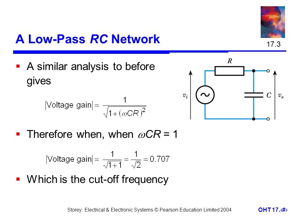 A Low-Pass RC Network A similar analysis to before gives