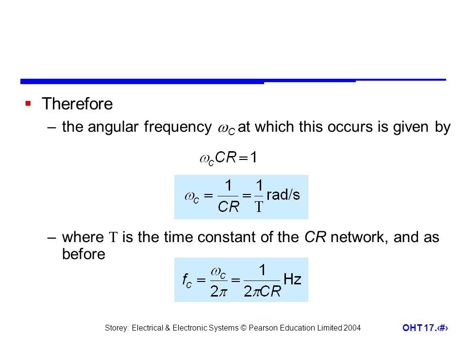 Therefore the angular frequency C at which this occurs is given by