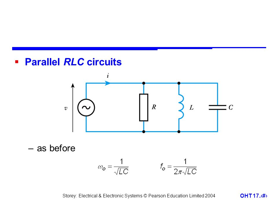 Parallel RLC circuits as before