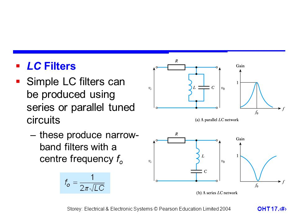 LC Filters Simple LC filters can be produced using series or parallel tuned circuits.