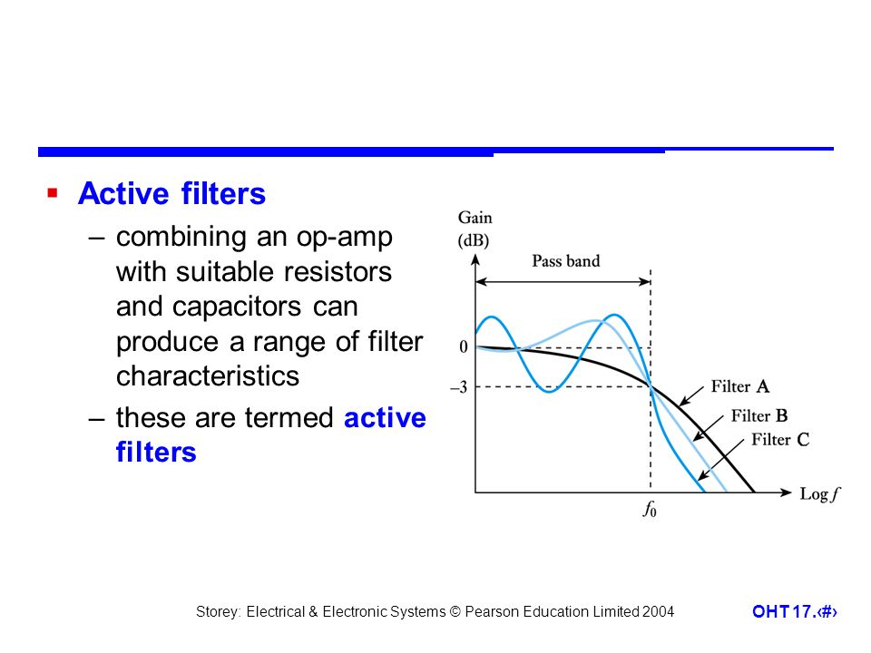 Active filters combining an op-amp with suitable resistors and capacitors can produce a range of filter characteristics.