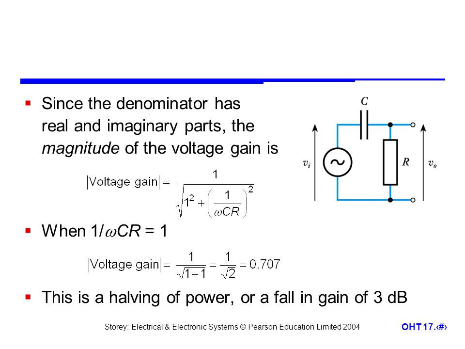 Since the denominator has real and imaginary parts, the magnitude of the voltage gain is