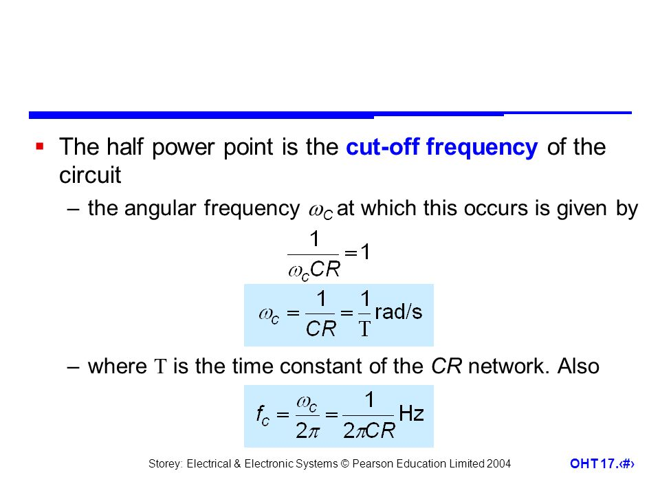 The half power point is the cut-off frequency of the circuit