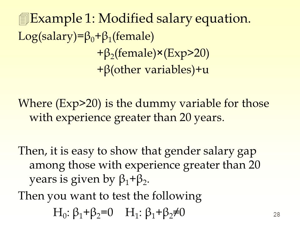 Example 1: Modified salary equation.