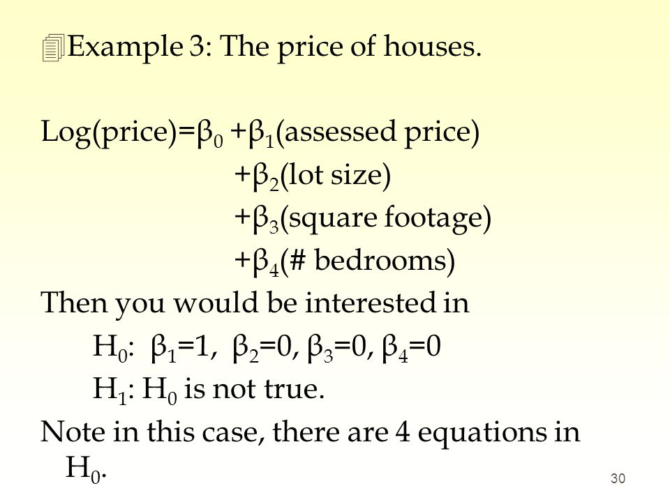 Example 3: The price of houses.