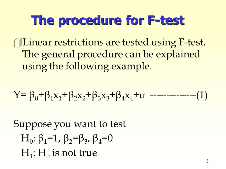The procedure for F-test