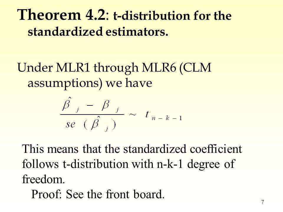 Theorem 4.2: t-distribution for the standardized estimators.