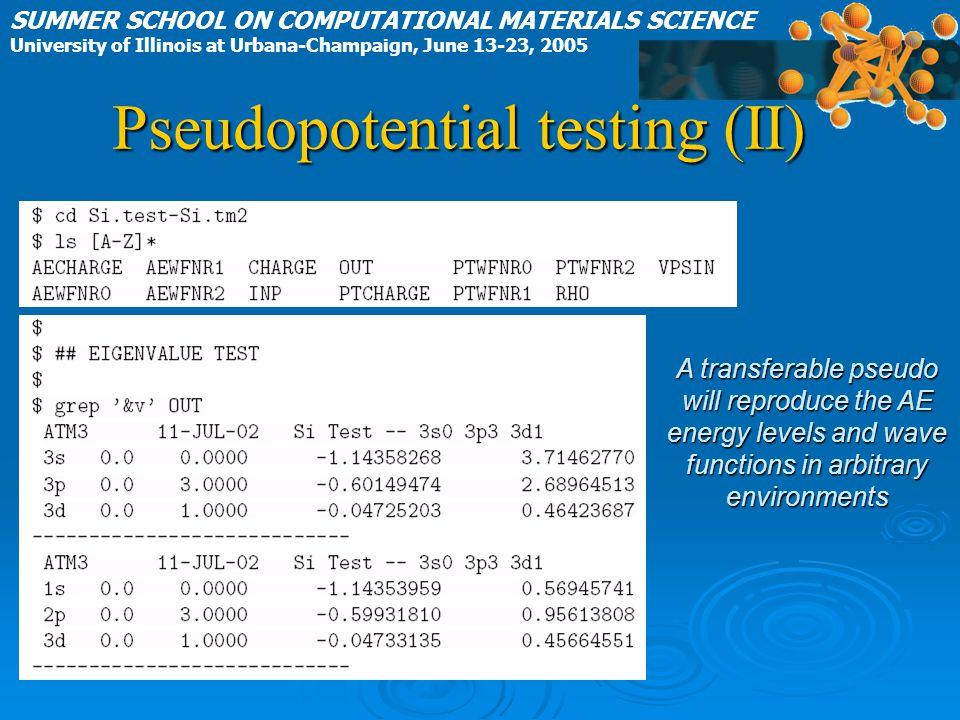 Pseudopotential testing (II)