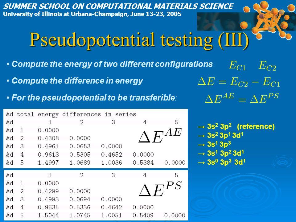 Pseudopotential testing (III)