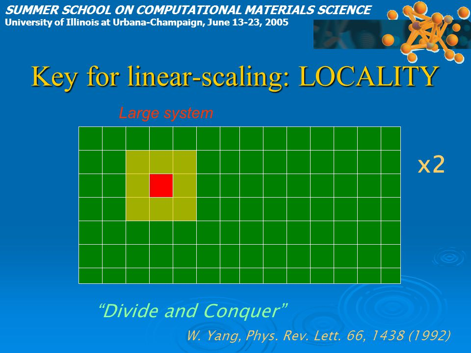 Key for linear-scaling: LOCALITY