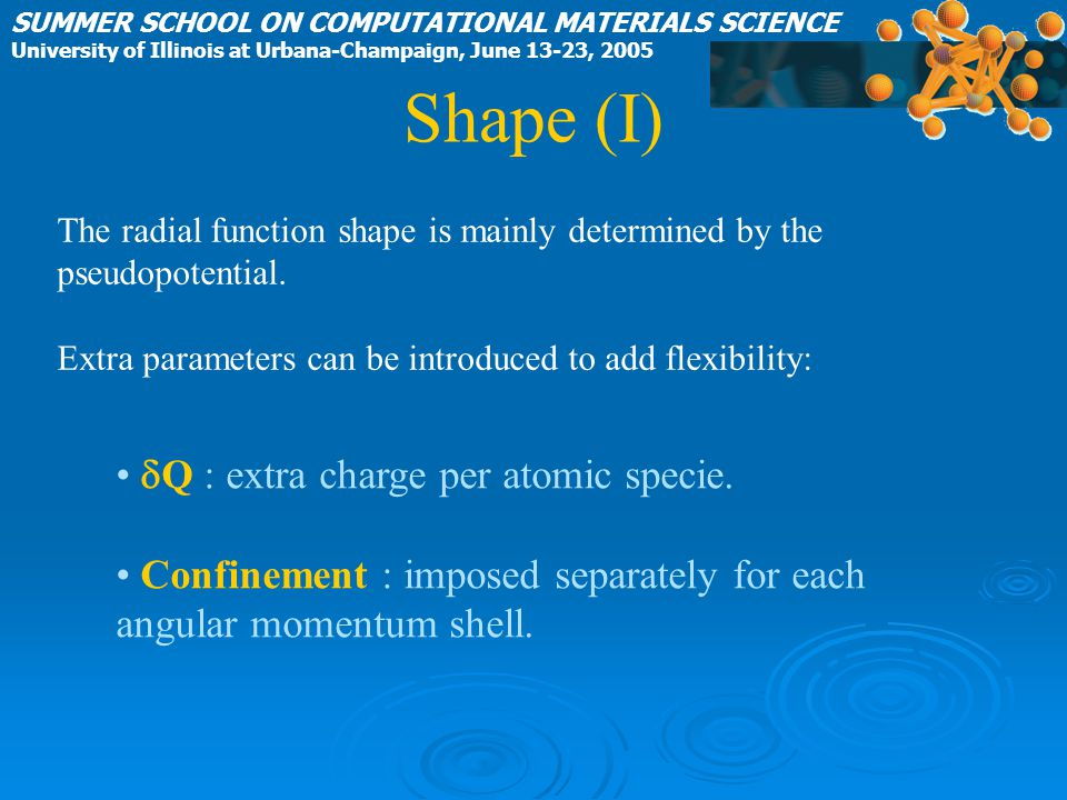 Shape (I) dQ : extra charge per atomic specie.