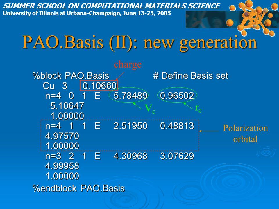 PAO.Basis (II): new generation