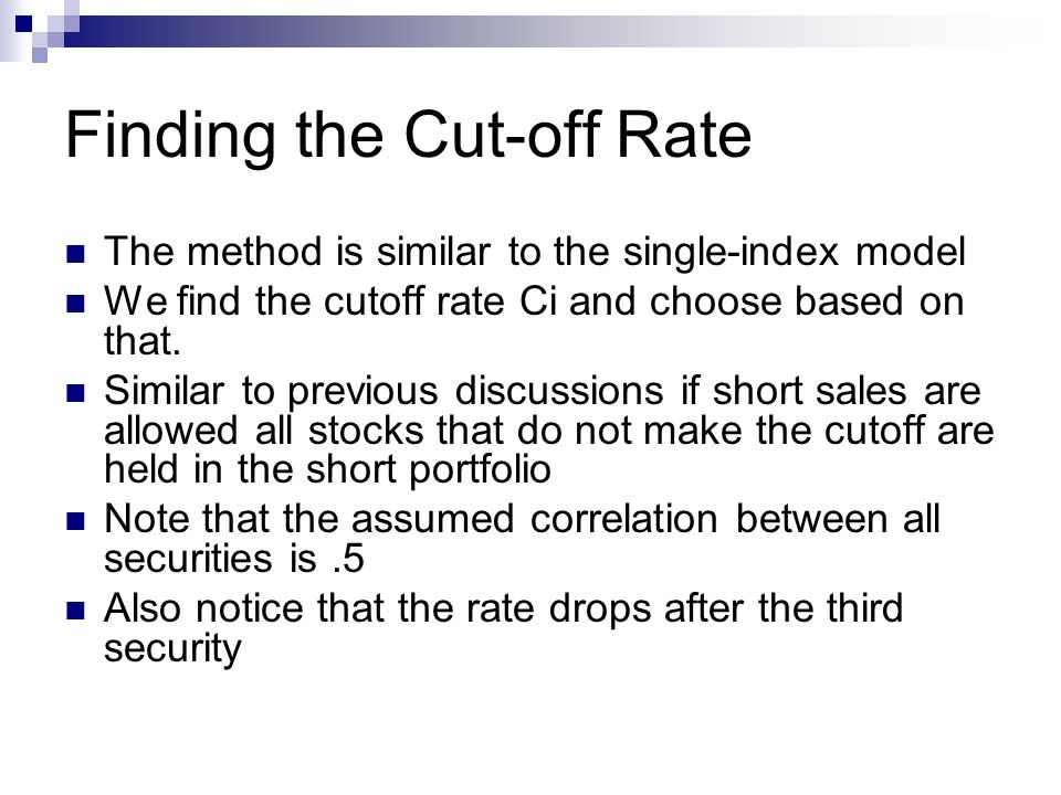 Finding the Cut-off Rate