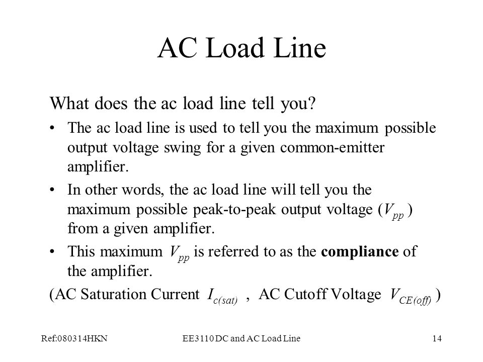 AC Load Line What does the ac load line tell you