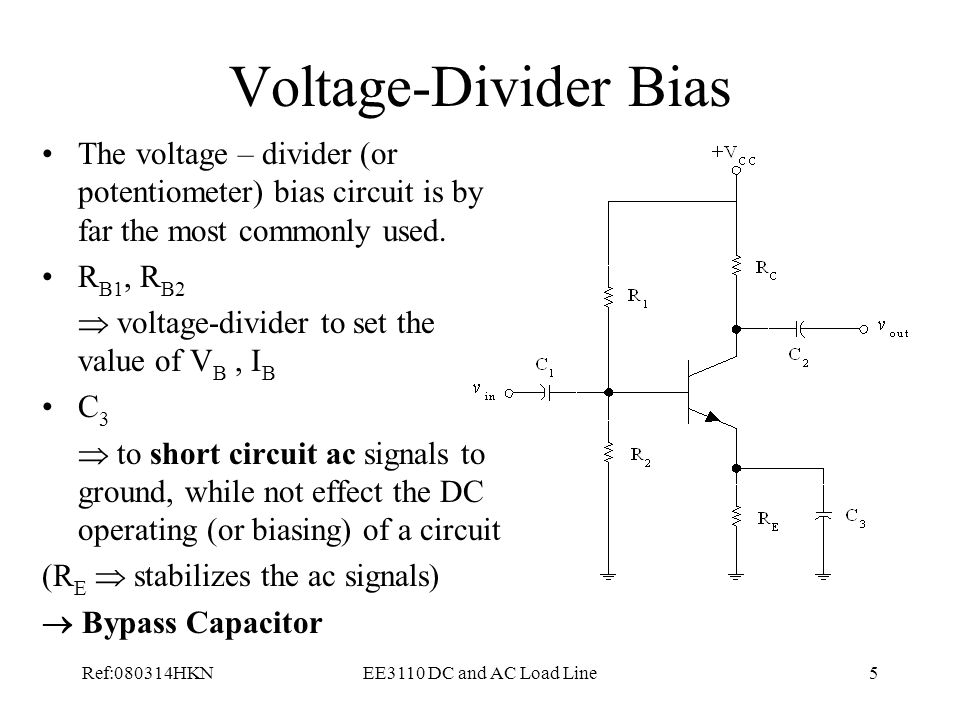 Voltage-Divider Bias The voltage – divider (or potentiometer) bias circuit is by far the most commonly used.