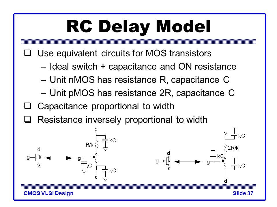 RC Delay Model Use equivalent circuits for MOS transistors