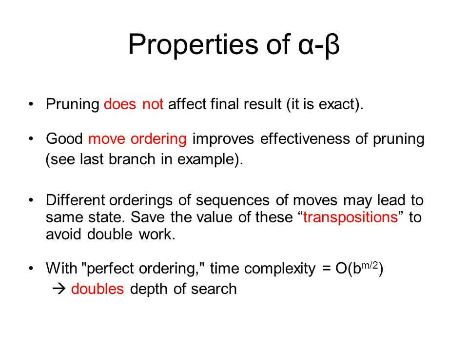 Properties of α-β Pruning does not affect final result (it is exact).