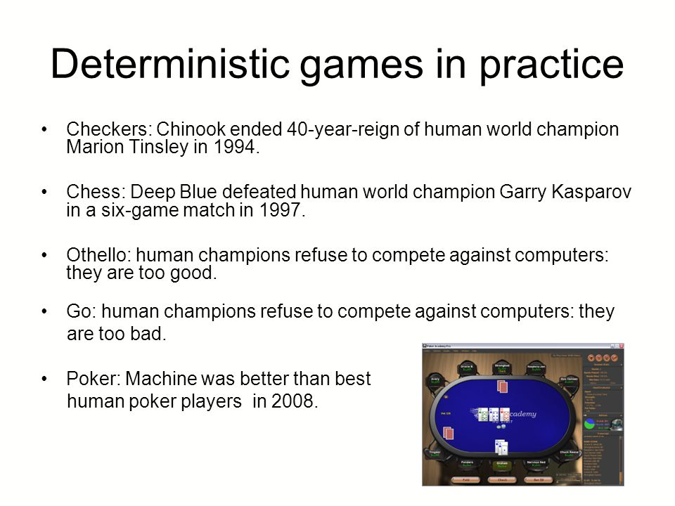 Deterministic games in practice