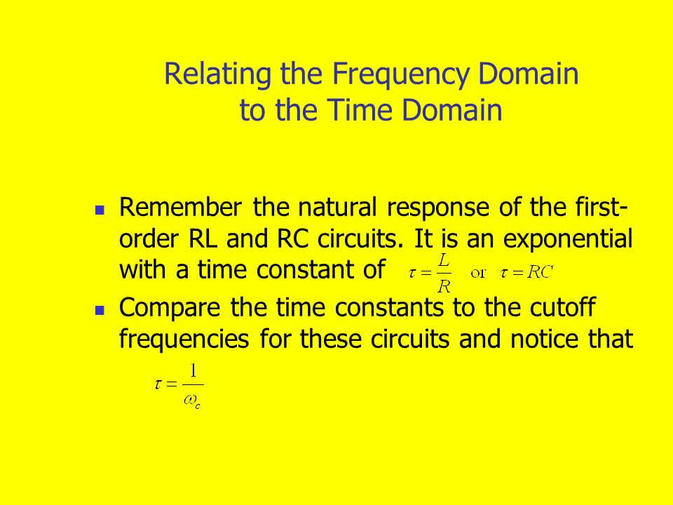 Relating the Frequency Domain to the Time Domain