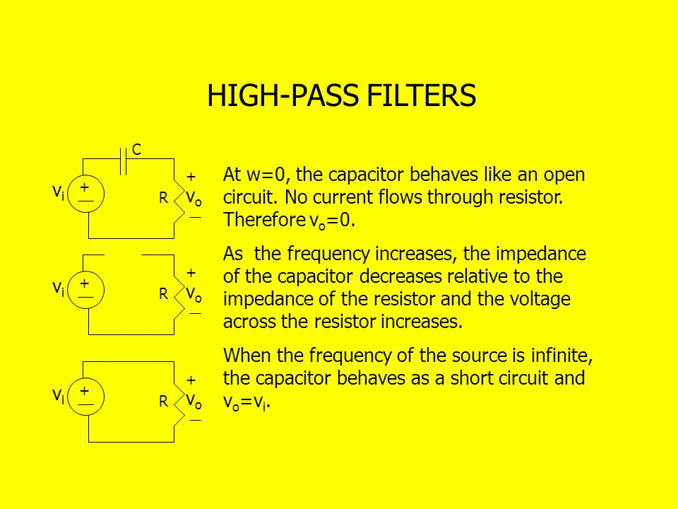 HIGH-PASS FILTERS C. At w=0, the capacitor behaves like an open circuit. No current flows through resistor. Therefore vo=0.