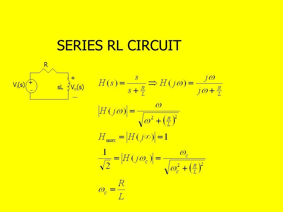 SERIES RL CIRCUIT R + + Vi(s) sL Vo(s)