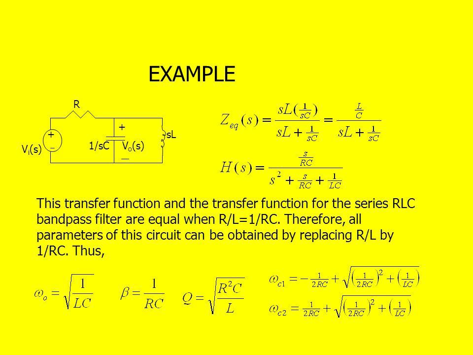 EXAMPLE R. + + sL. 1/sC. Vo(s) Vi(s)