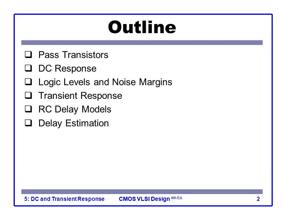 Outline Pass Transistors DC Response Logic Levels and Noise Margins