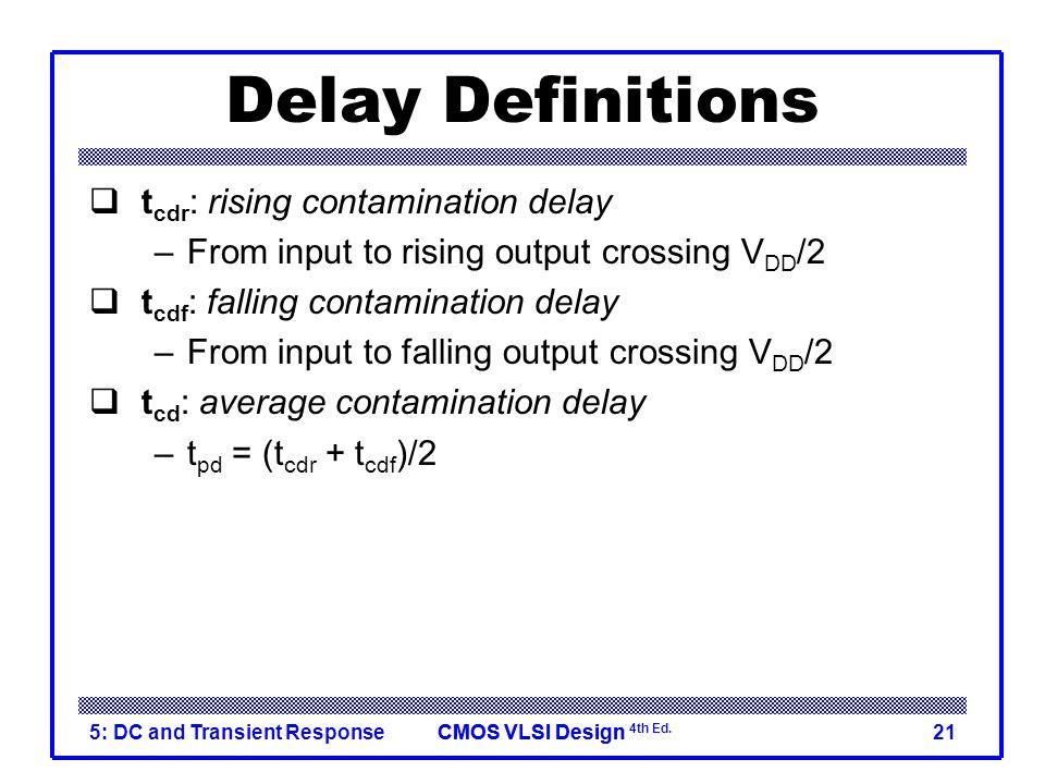 Delay Definitions tcdr: rising contamination delay