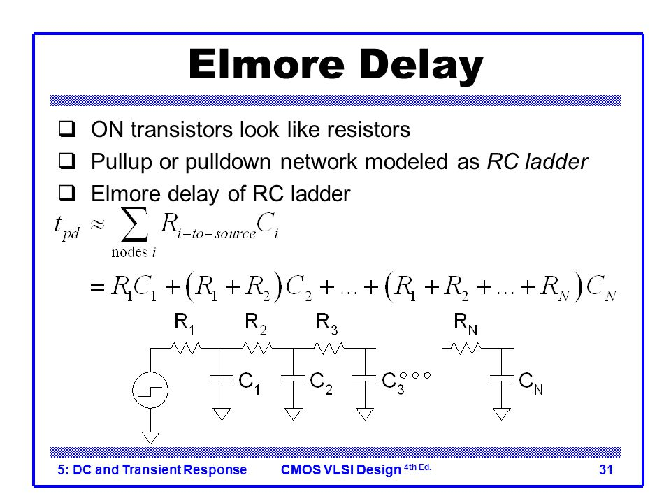 Elmore Delay ON transistors look like resistors