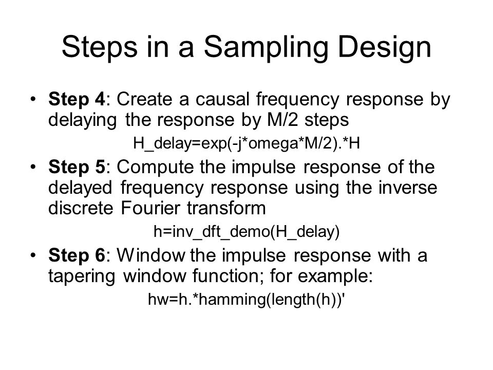 Steps in a Sampling Design