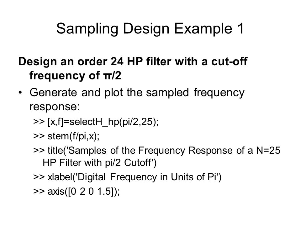 Sampling Design Example 1