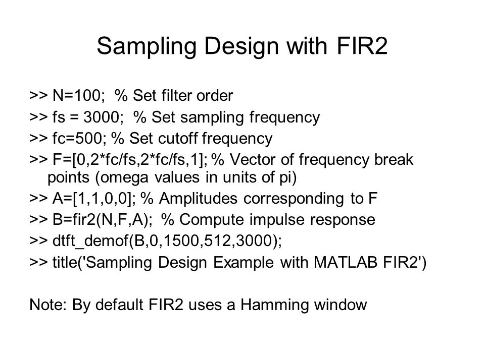 Sampling Design with FIR2