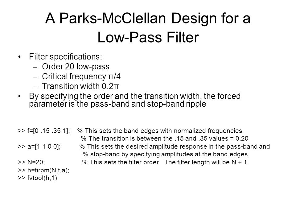 A Parks-McClellan Design for a Low-Pass Filter