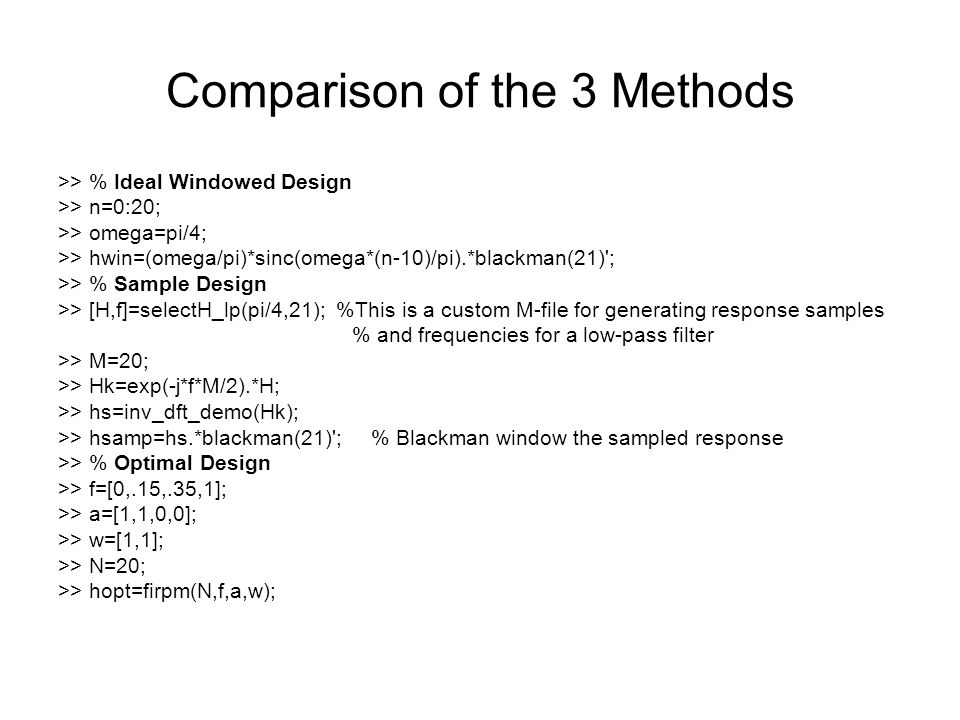 Comparison of the 3 Methods