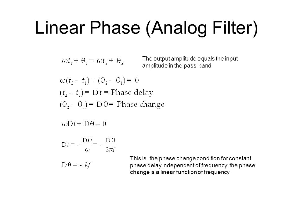 Linear Phase (Analog Filter)