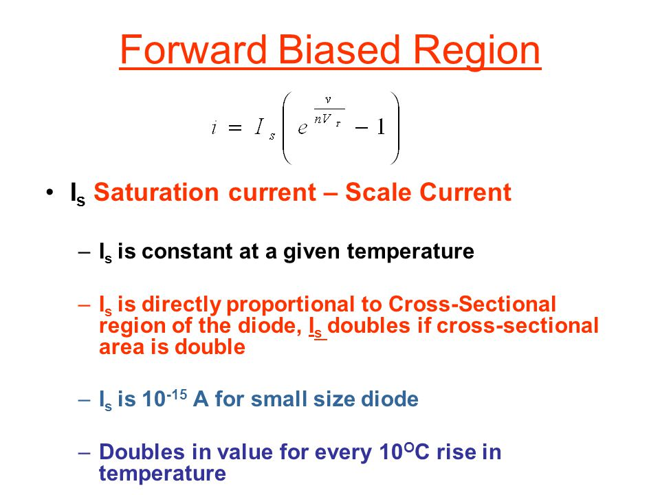 Forward Biased Region Is Saturation current – Scale Current
