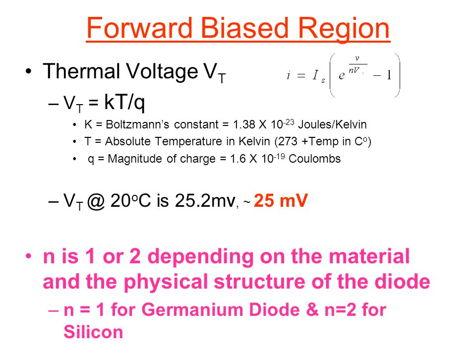 Forward Biased Region Thermal Voltage VT