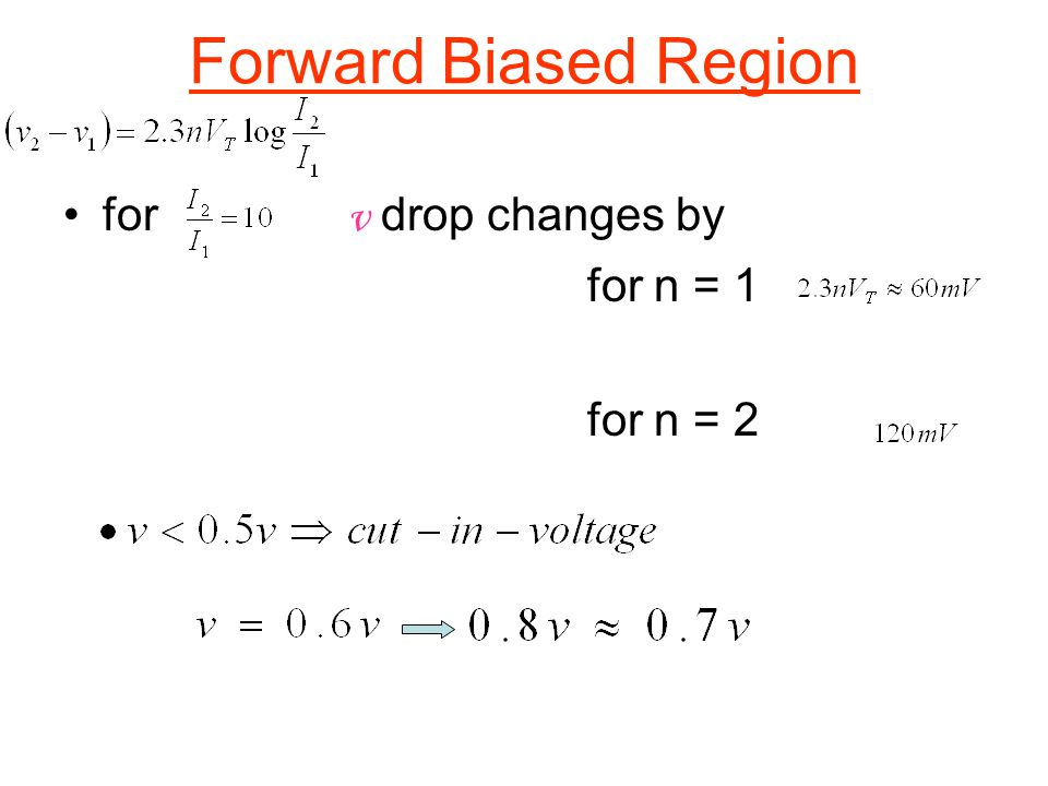 Forward Biased Region for v drop changes by for n = 1 for n = 2