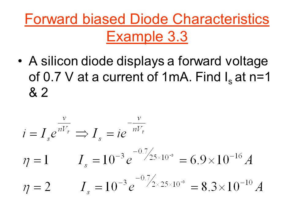 Forward biased Diode Characteristics Example 3.3