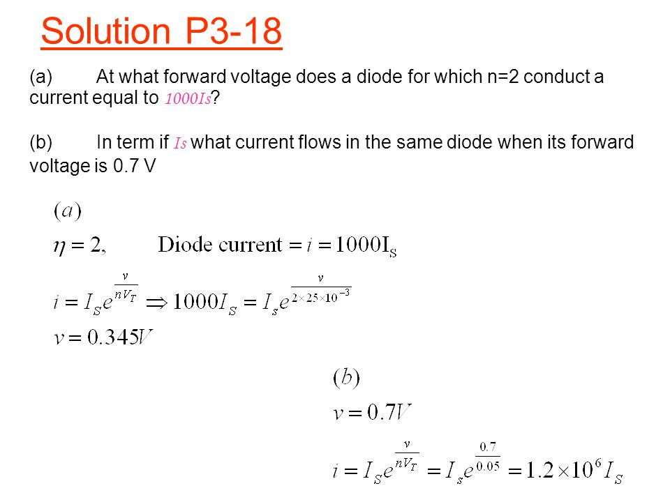 Solution P3-18 (a) At what forward voltage does a diode for which n=2 conduct a current equal to 1000Is