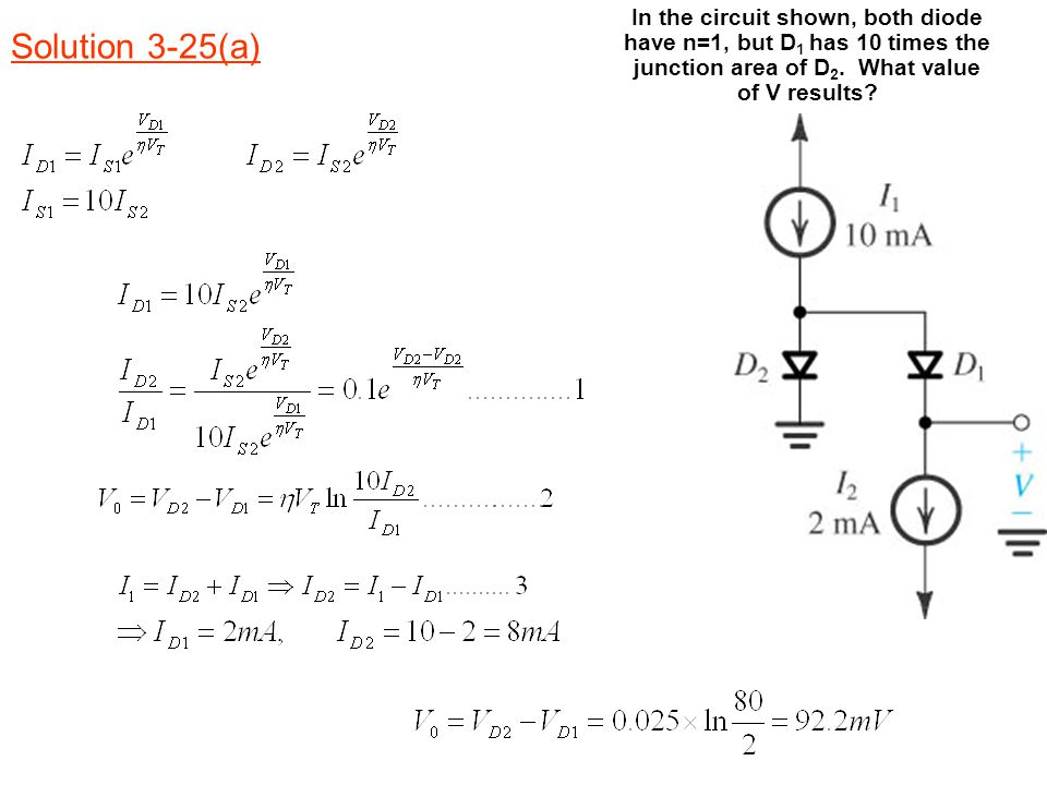 In the circuit shown, both diode have n=1, but D1 has 10 times the junction area of D2. What value of V results