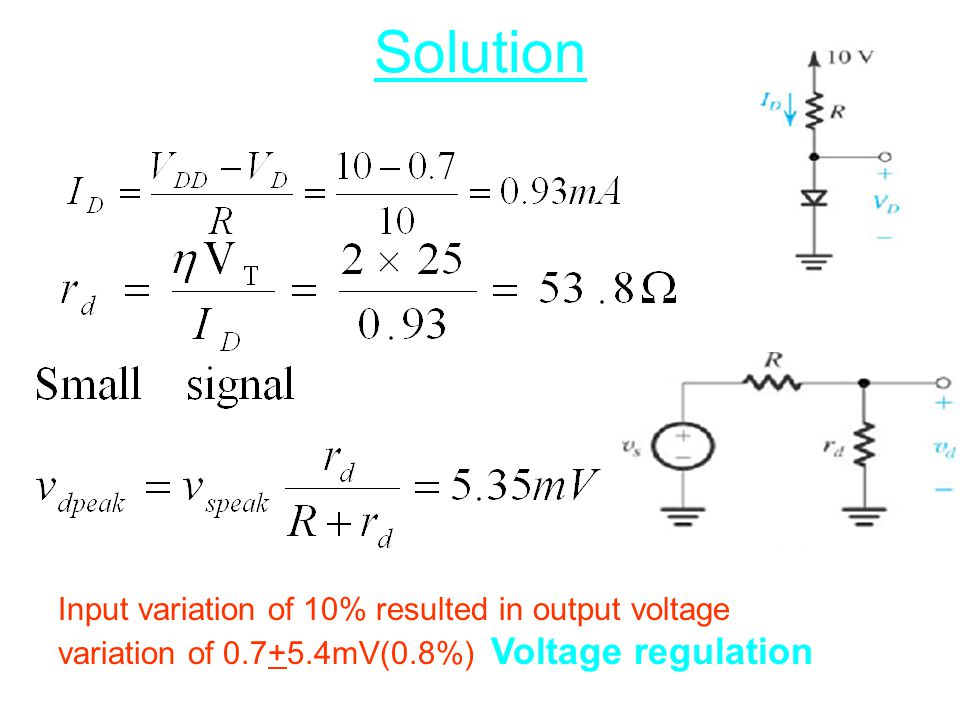 Solution Input variation of 10% resulted in output voltage