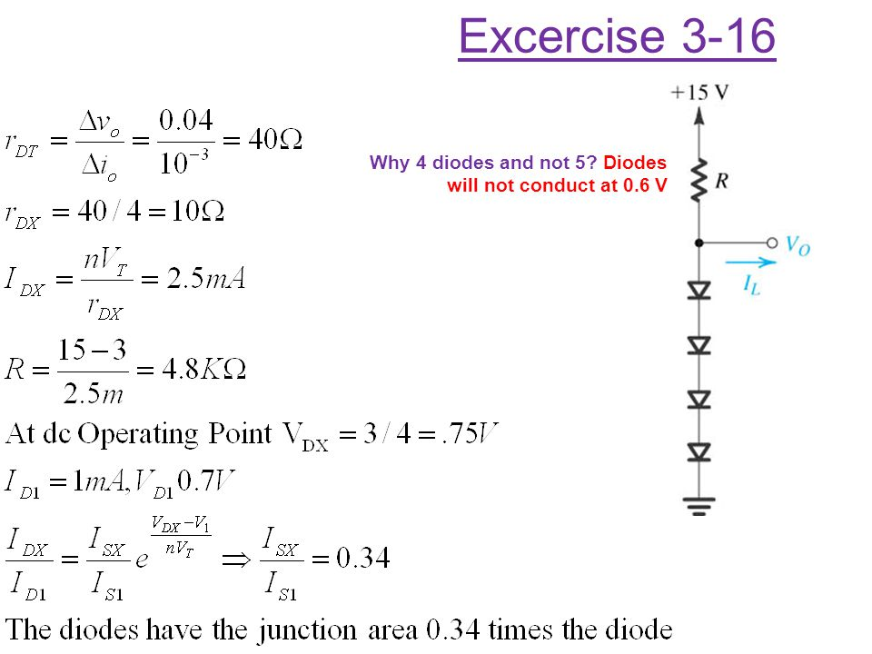 Excercise 3-16 Why 4 diodes and not 5 Diodes will not conduct at 0.6 V