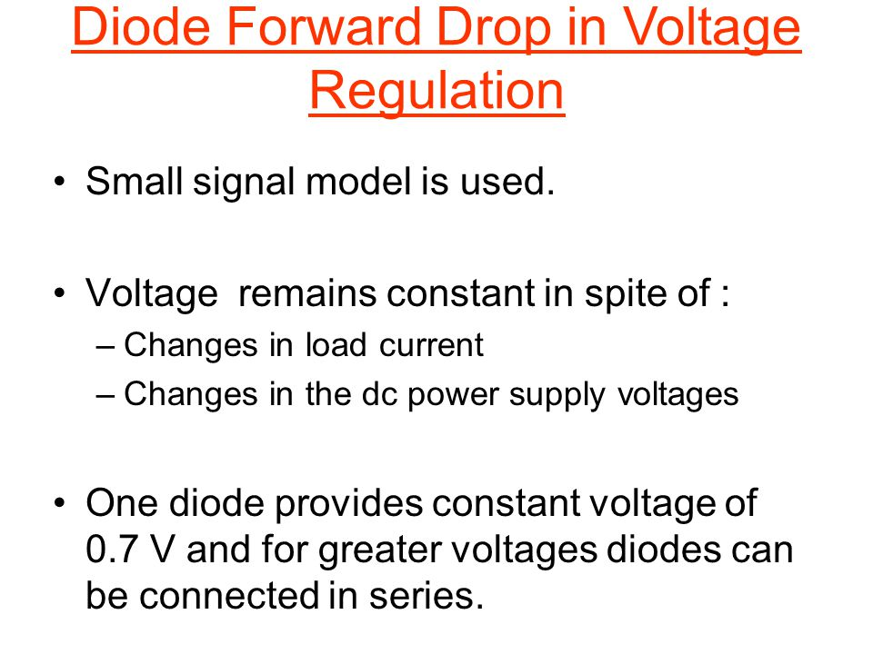 Diode Forward Drop in Voltage Regulation