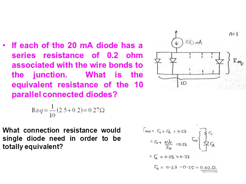 If each of the 20 mA diode has a series resistance of 0