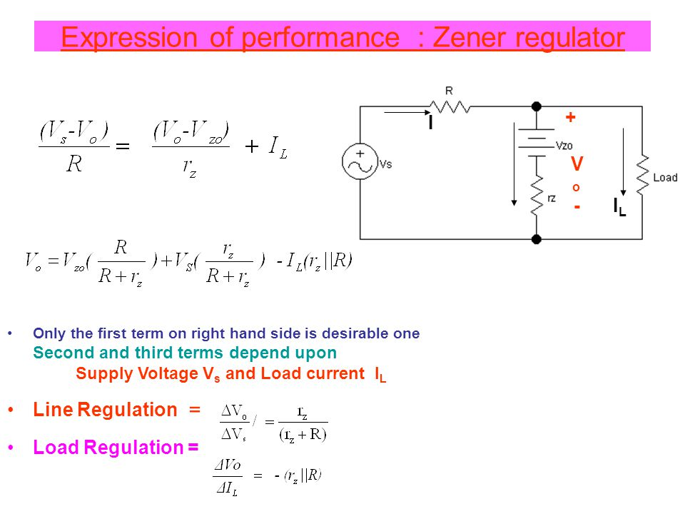 Expression of performance : Zener regulator